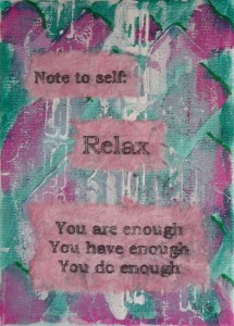 note to self pink green