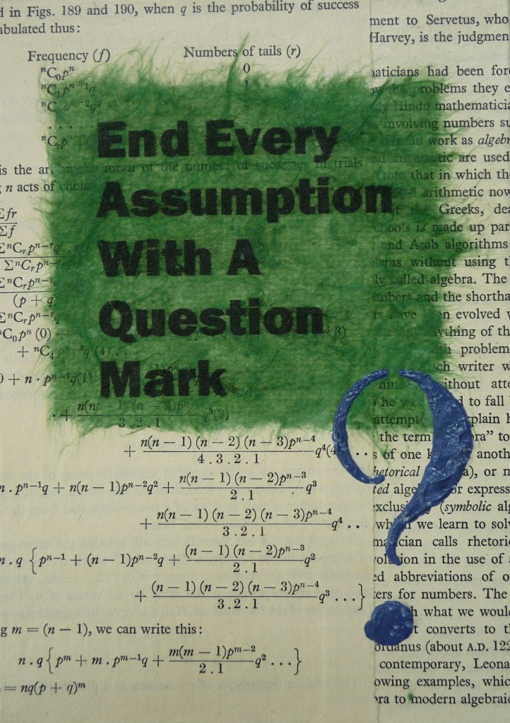 End Every Assumption With A Question Mark
