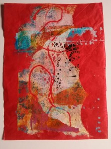 Red Tissue Gelli Print