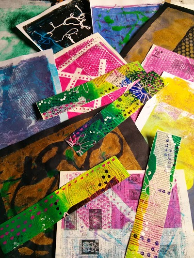 selection of Gelli prints