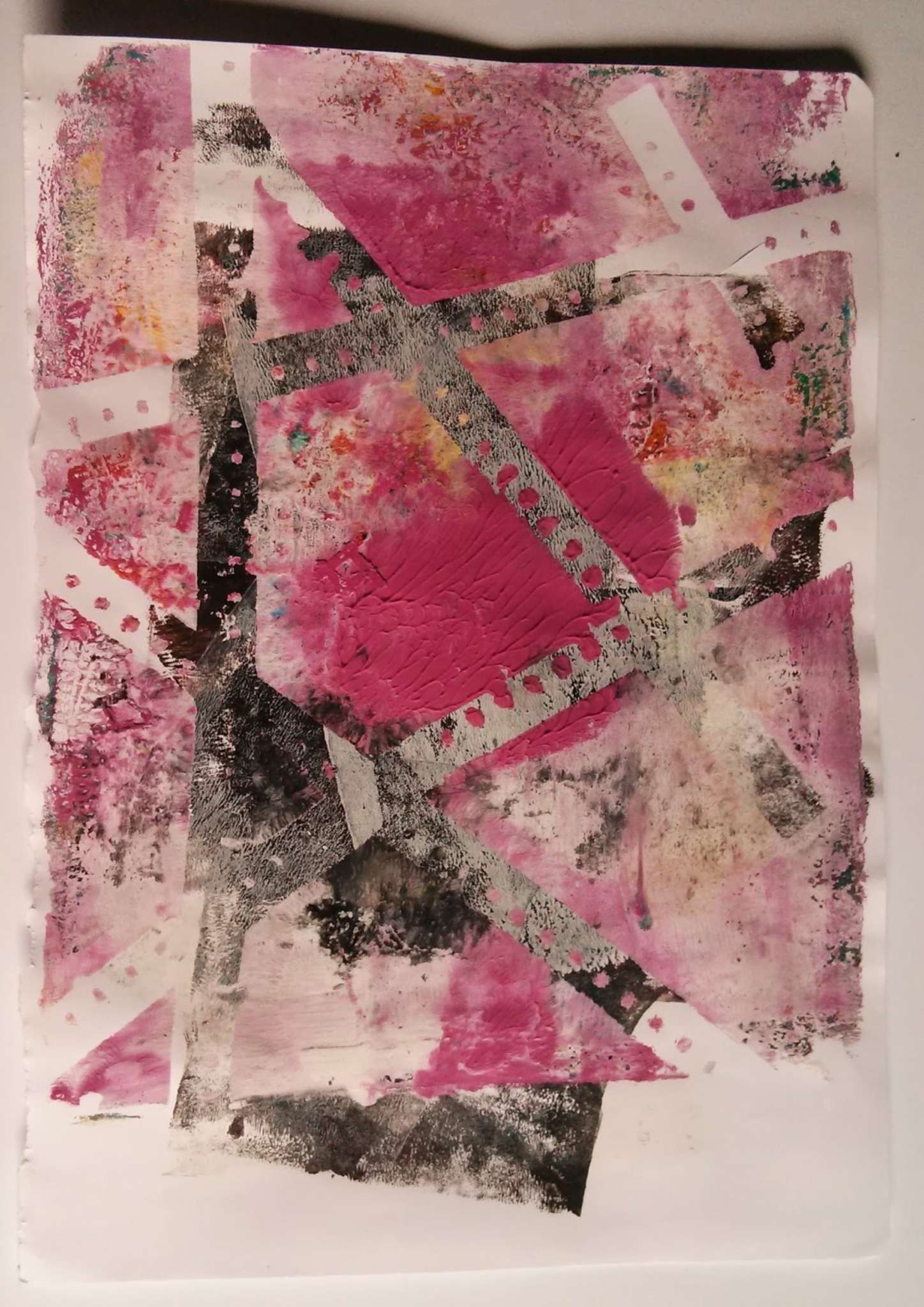 Pink And Black Gelli Print With Punched Paper
