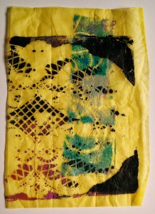 Yellow Tissue Gelli Print