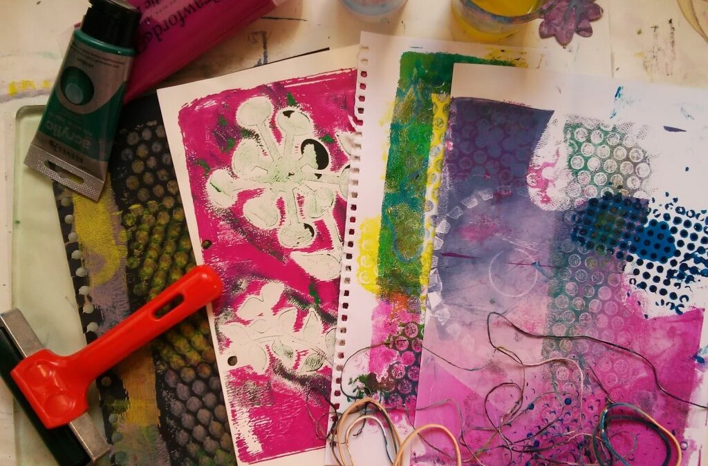 Gelli Print on Clear Packing Tape